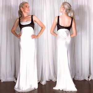 ABS White Black Classy Mod Formal Evening Gown